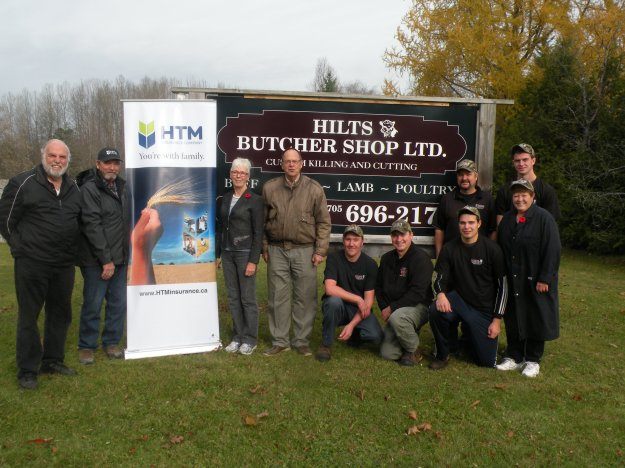 Bruce Dunk (Campbellford Food Bank), Bruce Buttar (HTM Insurance board of directors), Jan Findlay and Martin Hare (both from 7 Hills Community Pantry) and the staff of Hilts Butcher Shop.